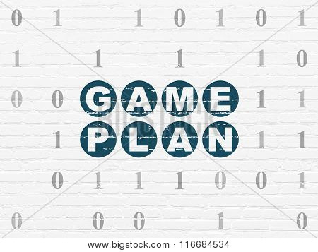 Business concept: Game Plan on wall background
