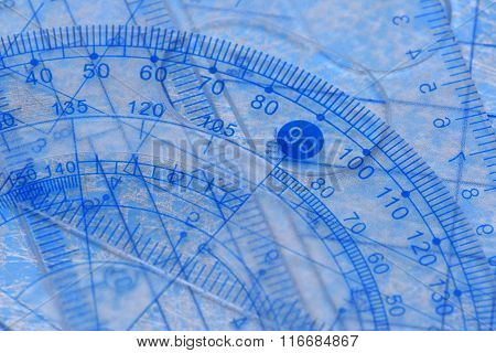 Transparent protractor, ruler and square measuring tools