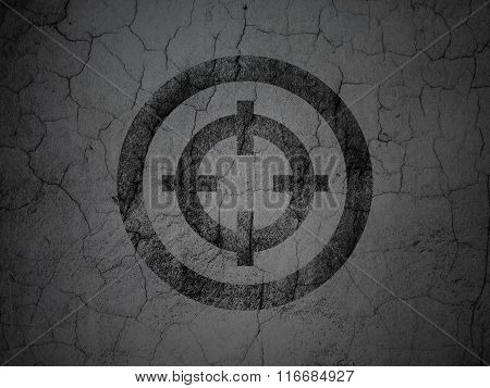Business concept: Target on grunge wall background