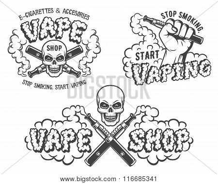 Set of vape, e-cigarette emblems