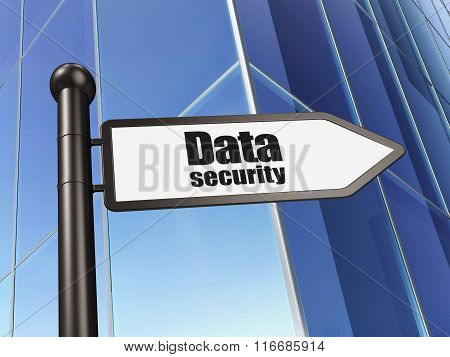 Security concept: sign Data Security on Building background