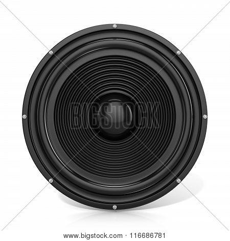 3D render illustration of loudspeaker. Front view