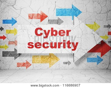 Privacy concept: arrow with Cyber Security on grunge wall background
