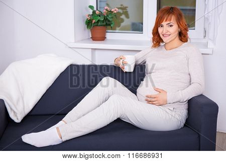 Portrait Of Happy Pregnant Woman Drinking Tea Or Coffee At Home
