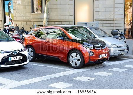 Barcelona, Spain - May 27: The Bmw I3 Electric Car Is On Street Of Barcelona City On May 27, 2015 In