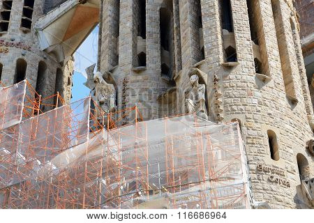 Barcelona, Spain - May 27, 2015: View On Construction Of The Basilica Of The Holy Family (sagrada Fa