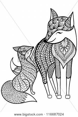 Hand drawn Fox with young child pattern for adult coloring page