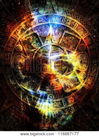 Ancient Mayan Calendar And Skull In Cosmic Space With Stars, Abstract Color Background.