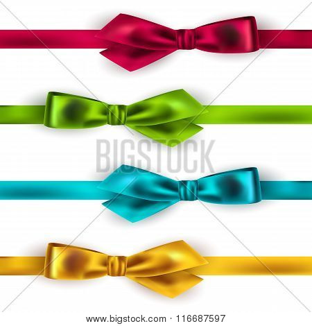 Shiny satin ribbon on white background