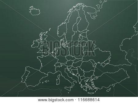 Europe Chart Chalkboard