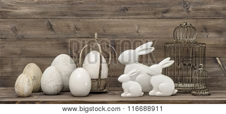 Easter Bunny And Easter Eggs. Vintage Decoration