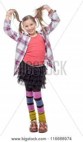 Funny Young Girl In Hipster Style, With Ponytails, Isolated On White