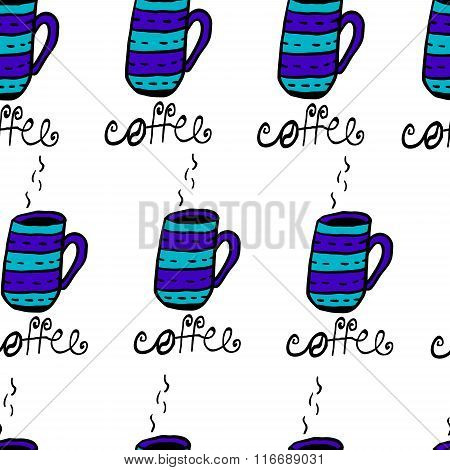 Seamless pattern with sketchy h coffee cups
