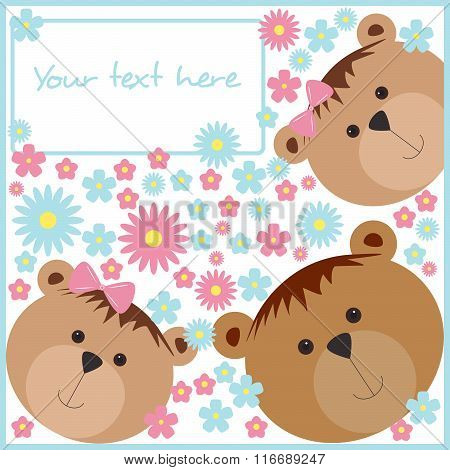 Isolated pattern with bears and flowers.