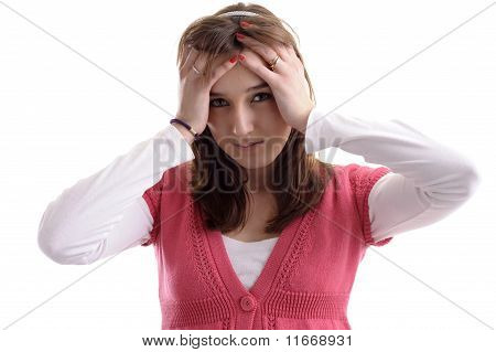 young woman heaving a headache
