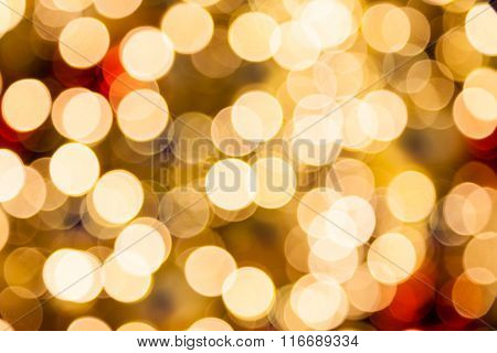 Defocused Golden Christmas Bokeh Lights.