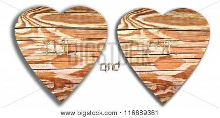 Love heart and initials graffiti carved into tree wood.