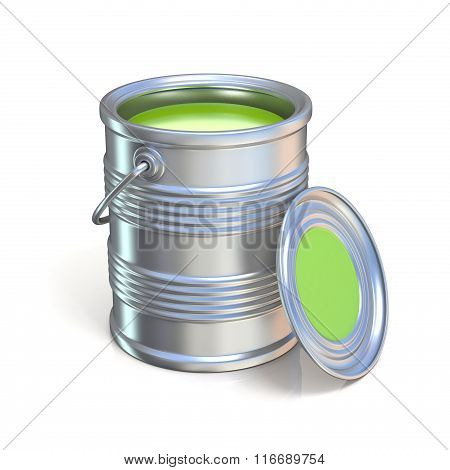Metal tin can with green paint
