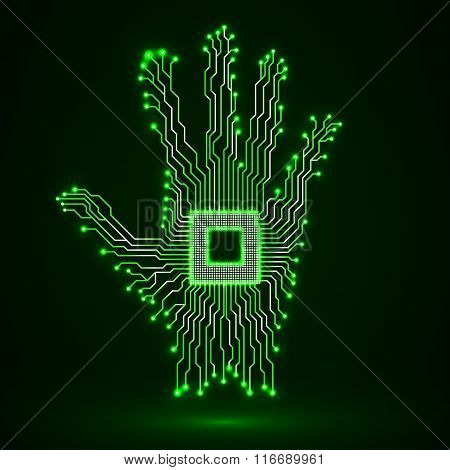 Neon hand. Cpu. Circuit board