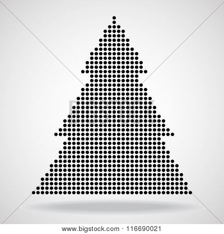 Abstract christmas tree from round dots