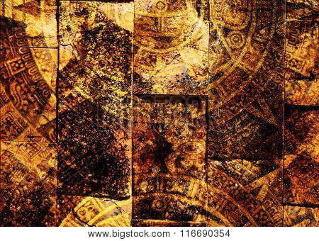Ancient Mayan Calendar, abstract color Background, computer collage. Wall structure.