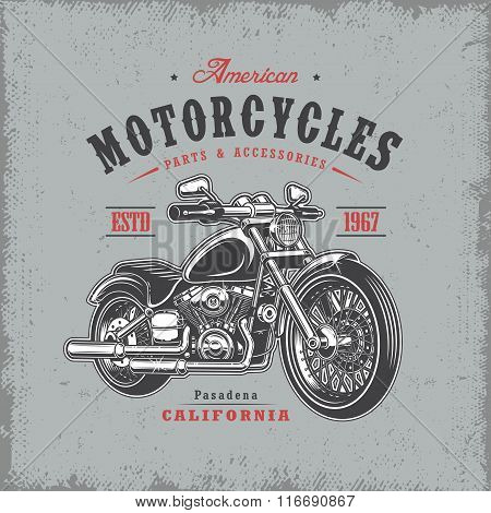 T-shirt print with motorcycle