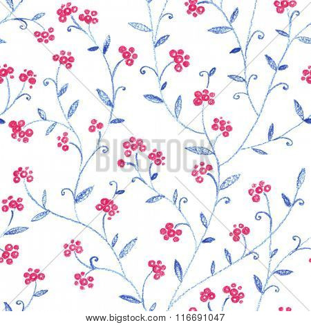 Painted pastel seamless pattern with red berries