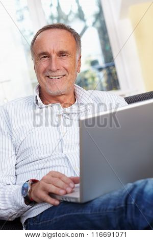 Mature Man With Laptop