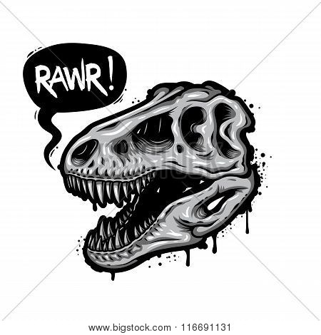 Illustration of dinosaur skull