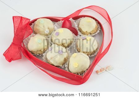 Chocolate Cookies In A Heart Shaped Box