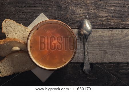 Still Life. Soup And Bread