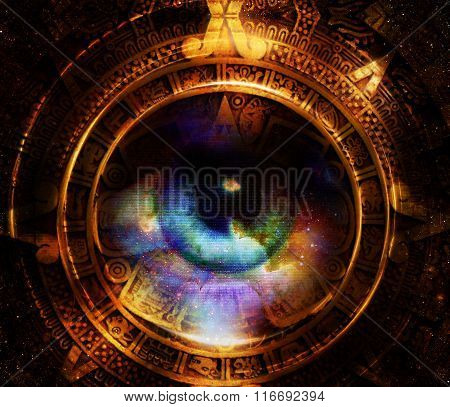 Ancient Mayan Calendar, And woman eye, Cosmic space with stars, abstract color Background, computer