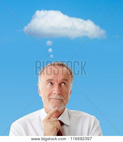 Senior Man With Thinking Cloud, Symbol