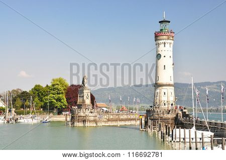 Lighthouse in the port of Lindau island, Germany