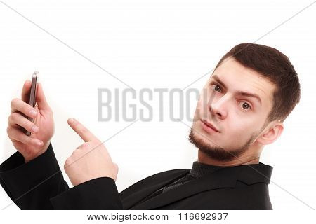 Businessman Pointing At The Phone