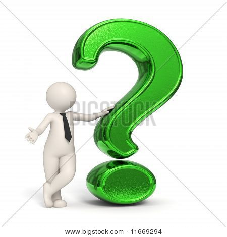 3D Business Man - Green Question Mark