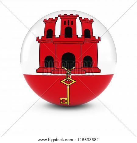 Gibraltan Flag Ball - Flag Of Gibraltar On Isolated Sphere