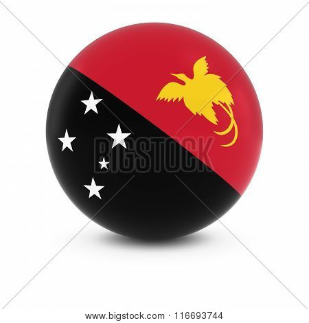 Papuan Flag Ball - Flag Of Papua New Guinea On Isolated Sphere