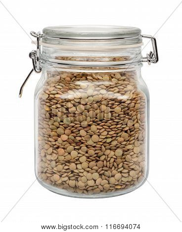 Lentils In A Glass Canister