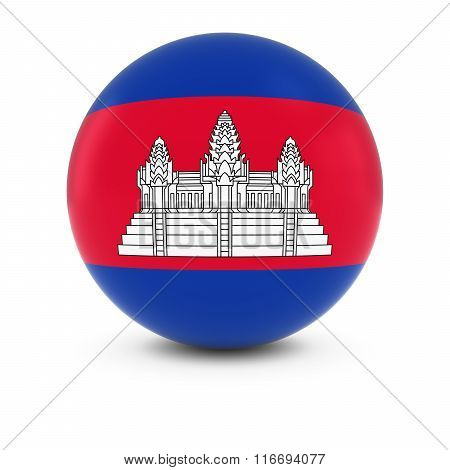 Cambodian Flag Ball - Flag Of Cambodia On Isolated Sphere