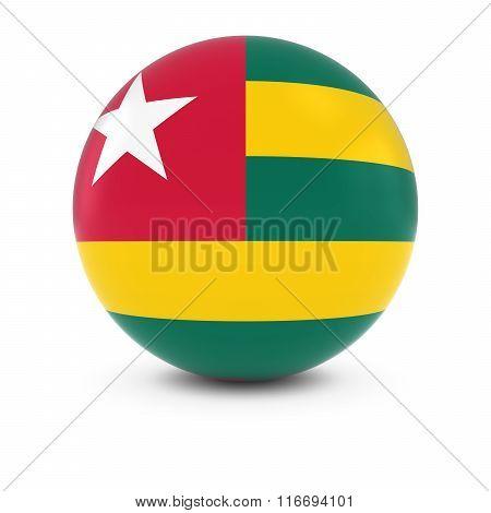 Togolese Flag Ball - Flag Of Togo On Isolated Sphere
