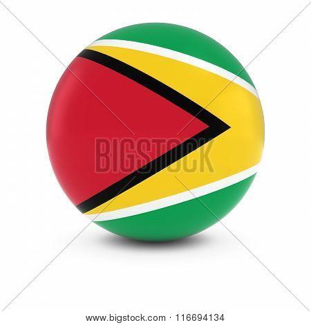 Guyanese Flag Ball - Flag Of Guyana On Isolated Sphere