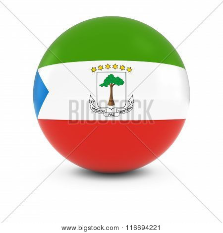Equatorial Guinean Flag Ball - Flag Of Equatorial Guinea On Isolated Sphere