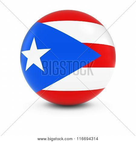 Puerto Rican Flag Ball - Flag Of Puerto Rico On Isolated Sphere