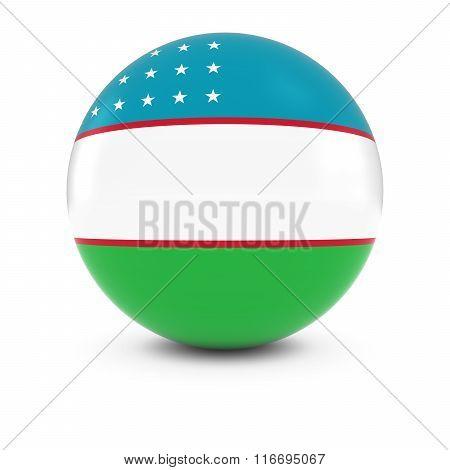 Uzbekistani Flag Ball - Flag Of Uzbekistan On Isolated Sphere