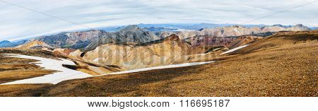 Beautiful multicolored mountains at Landmannalaugar, Iceland. Panoramic photo