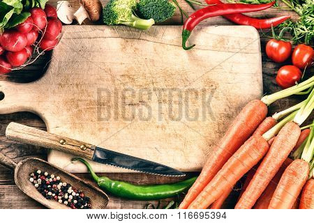 Cooking Setting With Fresh Organic Vegetables. Healthy Eating Concept