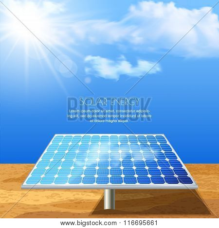 Realistic Vector Illustration Of Solar Battery, Power Generation Technology.