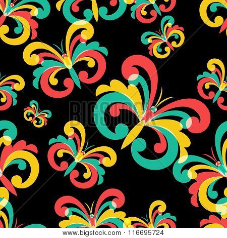 Vector Seamless Pattern With Multicolor Butterflies On Black Background.