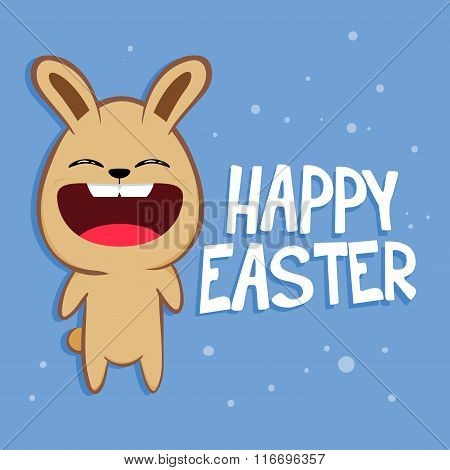 Funny Rabbit Shouting Happy Easter